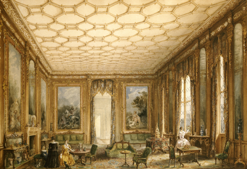 View Of A Jacobean-Style Grand Drawing Room, Circa 1840 by English School