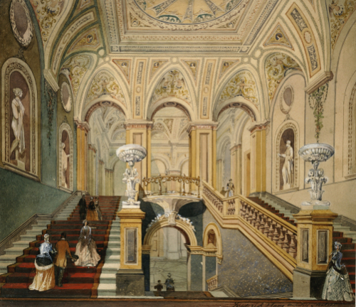 Interior Views Of The Conservative Club: Entrance Hall And Grand Staircase, 1845 by Frederick J Sang