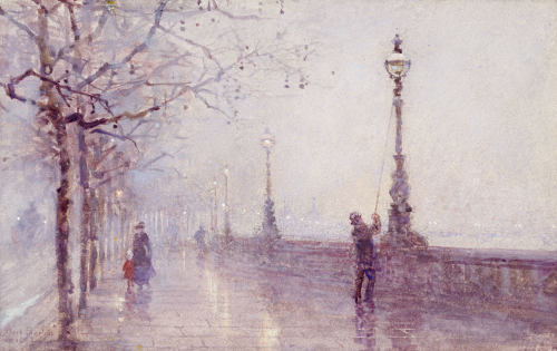 The Last Lamp, Thames Embankment, 1892 by Rose Maynard Barton