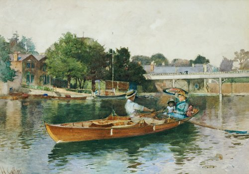 A Boating Party On The Thames At Cookham by Hector Caffieri