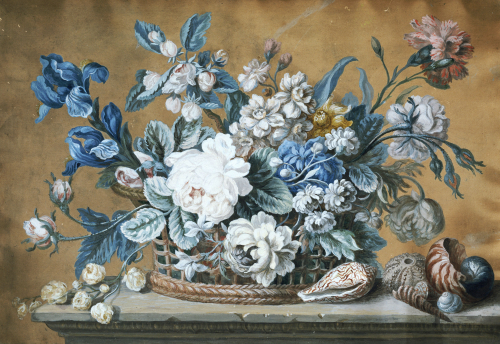 A Basket Of Dahlias, Delphiniums, Peony, Primula, Tulips by Peter Mazell