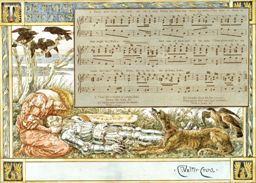 The Three Ravens: Design For A Song Book by Walter Crane