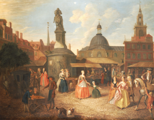 View Of Stocks Market With The Statue Of King Charles II by Joseph Van Aken
