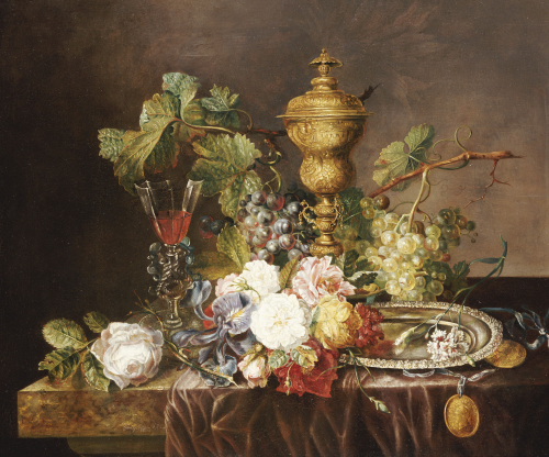 A Still Life With Roses, Carnations, An Iris, Grapes by Nee Coppin