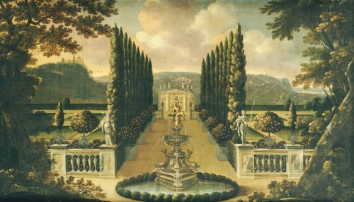 An Imaginary View Of The Gardens Of A Mansion With A Fountain by Robert Robinson