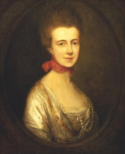 Portrait Of Miss Boone, Wearing A White Dress With Gold Embroidery And Pearl Chain by Thomas Gainsborough