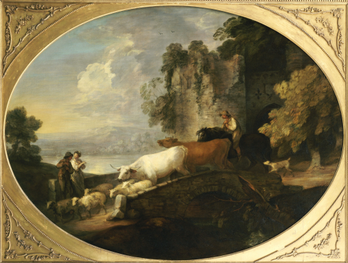 A River Landscape With Rustic Lovers, A Mounted Herdsman Driving Cattle And Sheep by Thomas Gainsborough