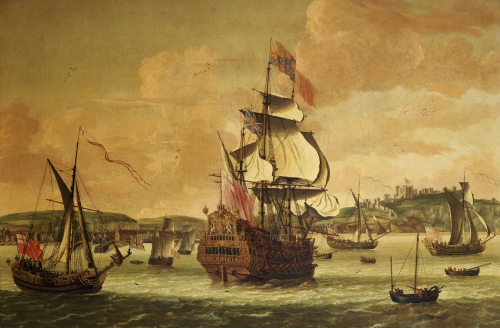 Charles II On Board A Two Decker Man-O-War Off Dover by Jacob Knyff Knijff