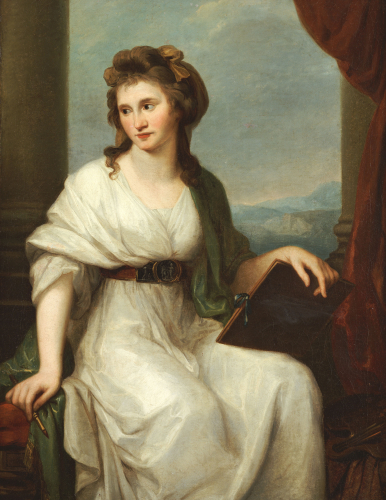 Portrait Of The Artist, Seated Three-Quarter Length In A White Dress And Green Shawl, 1787 by Angelica Kauffmann