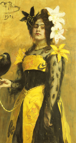 Portrait Of A Lady In A Yellow And Black Gown Adorned With Lilies Holding A Black Bird by Ilya Efimovich Repin