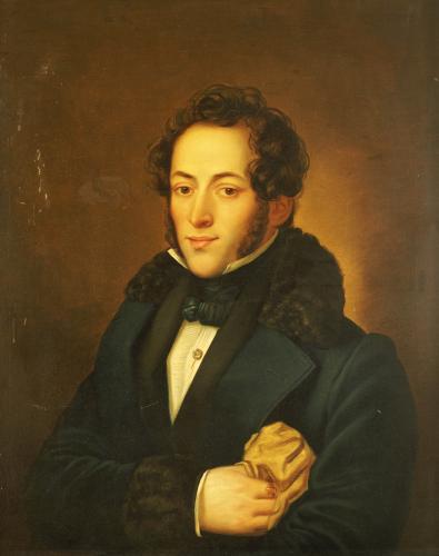 Portrait Of The Poet Aleksandr Sergeevich Pushkin (1799-1837), 1835 by Russian School