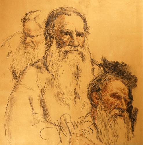 Three Studies Of Lev Tolstoi Or Leo Tolstoy (1828-1910), 1891 by Ilya Efimovich Repin