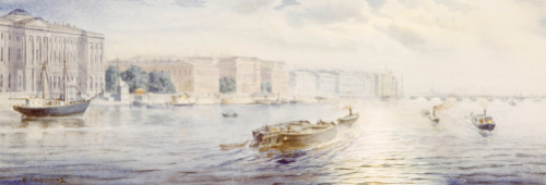 The Winter Palace From The River Neva. Views Of St. Petersburg by Mikhail Abramovich Balunin
