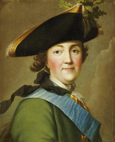 Portrait Of Catherine The Great (1729-1796), In The Uniform Of The Preobrazhenskii Regiment by Vigilius Eriksen