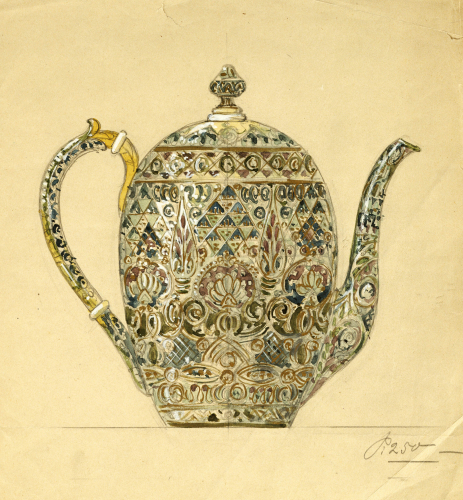 Design For An Ovoid Silver-Gilt Cloisonne Enamel Coffee Pot by Christie's Images