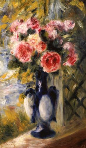 Roses In A Blue Vase, 1892 by Pierre Auguste Renoir