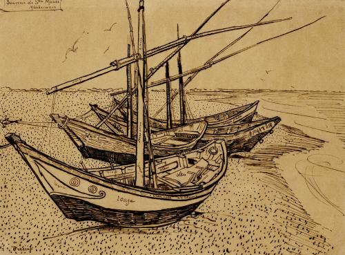 Boats On The Beach At Saintes-Maries-De-La-Mer, 1888 by Vincent Van Gogh