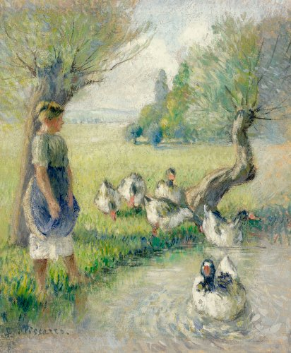 The Goose Girl (The Duck Pond), Circa 1890 by Camille Pissarro