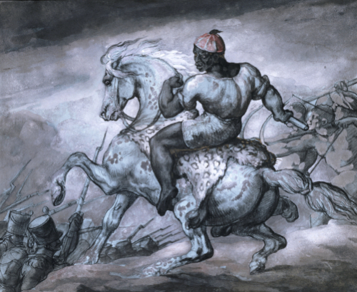 A Scene From The Colonial War: A Negro On A Rearing Horse by Jean-Louis-André-Théodore Géricault