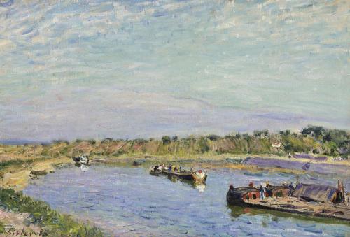 Le Port De Saint Mammes, Le Matin, 1885 by Alfred Sisley