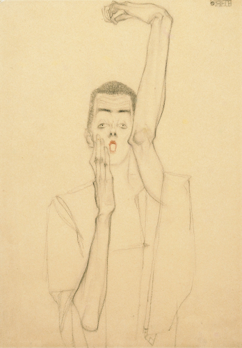 Young Man With A Raised Arm And Red Mouth by Egon Schiele