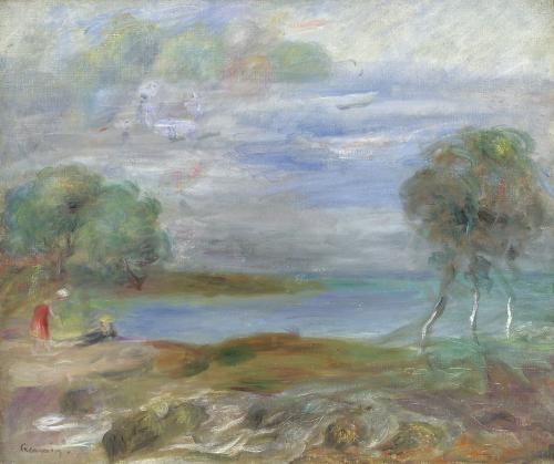 Deux Personnages Au Bord De L'eau by Pierre Auguste Renoir