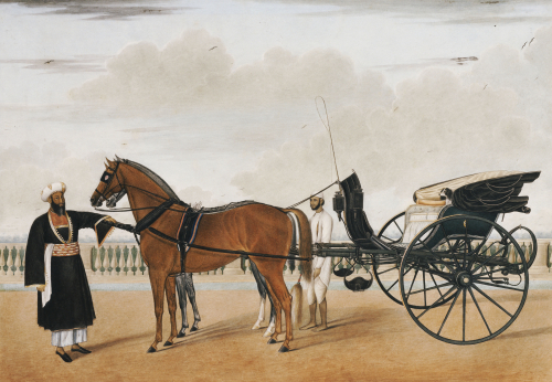 A Nawab Standing By His Horse Drawn Gharry Or Carriage Attended By His Groom Bearing A Chaur by Shaikh Muhammad Amir Of Karraya