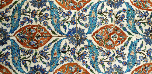 Eight Composite Iznik Polychrome Square Tiles, c.1575 by Anonymous