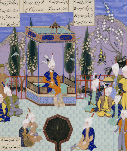 The Houghton Shahnameh: Folio 513v. An Aging Firdowsi Eulogizes Sultan Mahmud by Christie's Images