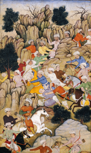 Babur Chasing The Hazaras Through The Ravine. Mughal India, Circa 1595 by Christie's Images