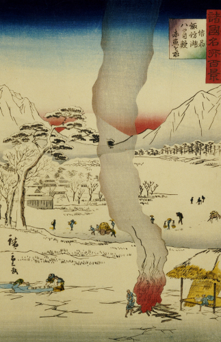 Men Fishing For Eels And Other Fish Through A Hole In The Ice by Ando Hiroshige