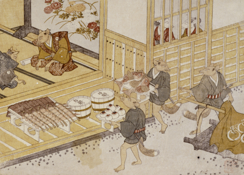 The Exchange of Presents. From the Set, The Fox's Wedding, c. 1765 by Tachibana Minko