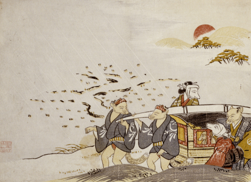 Going Away Of The Bride In A Shower. From the Set, The Fox's Wedding, c. 1765 by Tachibana Minko