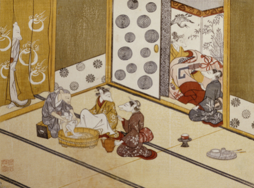 The First Bath. From the Set, The Fox's Wedding, c. 1765 by Tachibana Minko