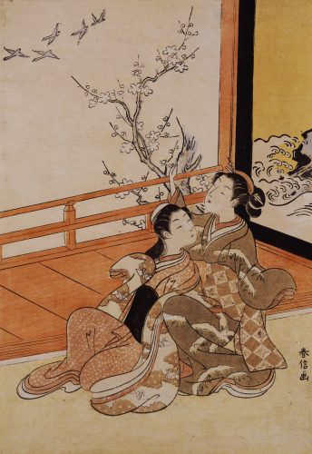Two Women Seated By A Verandah, One Pointing At Geese by Suzuki Harunobu
