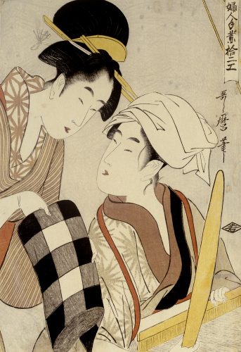 Portrait Of Two Women, One Seated At A Loom by Kitagawa Utamaro