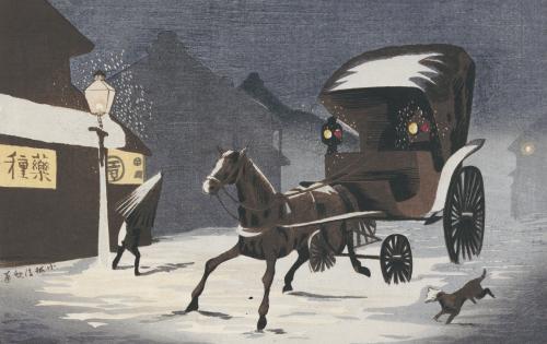 Snowy Evening At Honcho Street, A Horse-Drawn Carriage In The Snow by Kobayashi Kiyochika