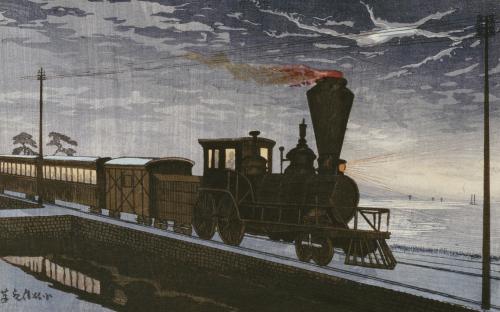 A Steam Locomotive In Hazy Moonlight by Kobayashi Kiyochika
