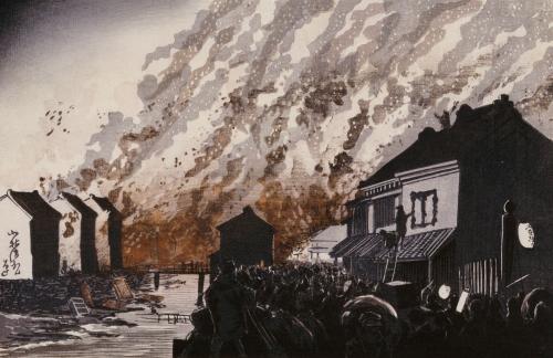 A Great Fire On The Night Of February 11, 1881 by Kobayashi Kiyochika