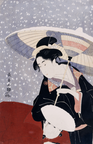 A Manservant Clearing The Geta Of A Beauty On A Winters Day by Eishosai Choki