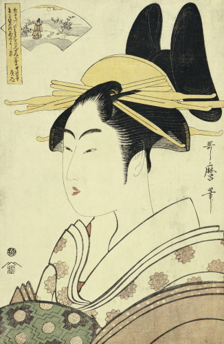 An Okubi-E Portrait Of A Courtesan Representing The Hagi Or Noji River by Kitagawa Utamaro