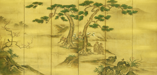 Birds, Flowers And Monkeys Six-Panel Screen, Kano School by Christie's Images
