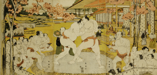 A Triptych Of A Wrestling Bout At A Daimyo Mansion by Katsukawa Shunei