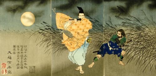 A Triptych Of 'Fujiwara No Yasumasa Playing The Flute by Tsukioka Yoshitoshi