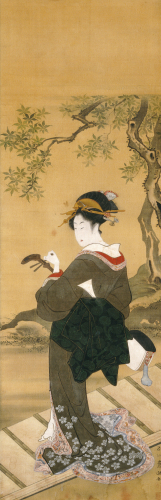 A Full Length Portrait Of A Woman Tuning Her Shamisen On A Veranda by Utagawa Toyokuni