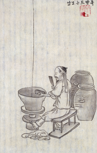 A Potter. From An Album Of Scenes Of Daily Life by Kim Junkeun