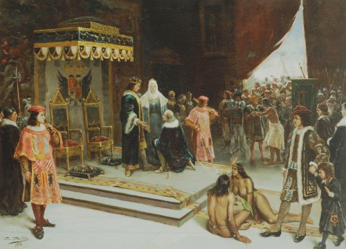 Columbus Before The Spanish Court After His Return From The Americas, 1894 by Francisco Garcia Santa Olalla