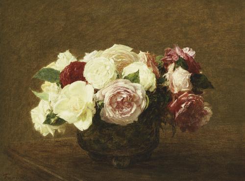 Roses by Ignace-Henri-Théodore Fantin-Latour