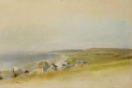 Houses On The Cliff Edge At Villers-Sur-Mer, 1869 by Edgar Degas