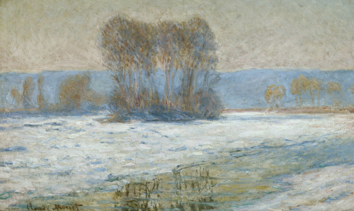 The Seine At Bennecourt, Winter by Claude Monet